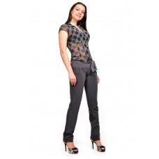 Женские брюки  молодежные (81 модель, костюмка) Тёмно-серая
